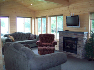 Cabin living room at Ottertail Beach Resort.