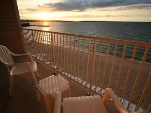 Balcony lake view at Bayshore Resort.