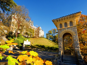 Fall Exterior view from the St. Elizabeth's Catholic Church of The 1886 Crescent Hotel & Spa.
