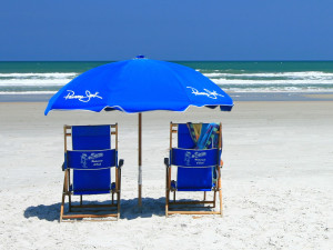 Lounge on the beach at Holiday Isle Oceanfront Resort.