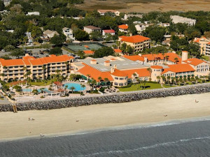 Aerial view of The King and Prince Beach & Golf Resort.