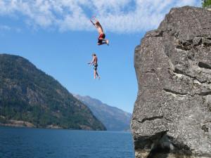 Jumping into lake at Campbell's Resort on Lake Chelan.