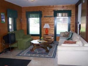 Cabin living room at Wilsons On Moosehead Lake.