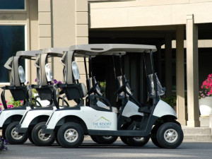 Golf carts at The Resort at the Mountain.