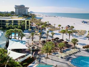 View of resort and beach at Sirata Beach Resort.