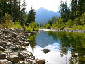 Fishing at Ripple Creek Cabins.