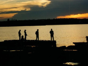 Fishing off the dock at Uchi Lake Lodge.