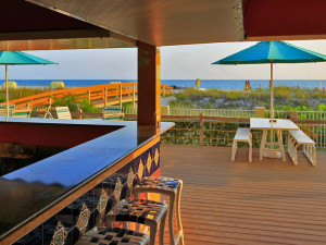 Patio view at Sunset Vistas Beachfront Suites.