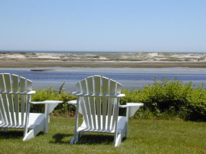 Lawn chairs at The Dunes on the Waterfront.