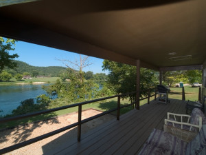 Cottage porch view at Norfork Resort & Trout Dock.