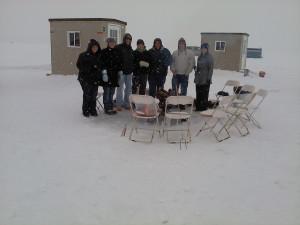 Ice fishing at Arrowwood Resort.