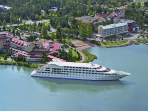 Aerial view of Naantali Spa Hotel - Sunborn Yacht Hotel.