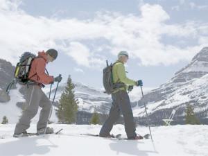 Snowshoeing Bow Lake near Mountaineer Lodge.