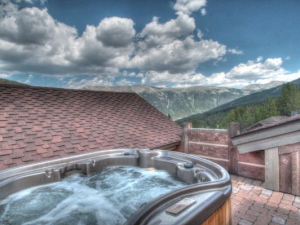 Vacation rental hot tub at SkyRun Vacation Rentals - Copper Mountain.