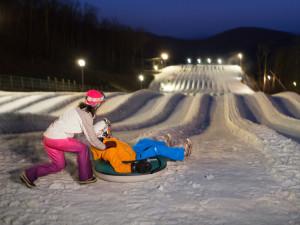 Snow tubing at Wintergreen Resort.