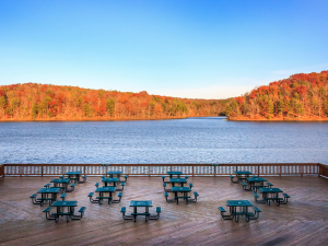 Picnic tables at YMCA Trout Lodge & Camp Lakewood.