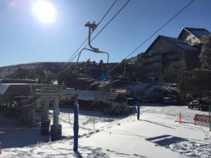 Skiing at Feathertop Alpine Lodge.
