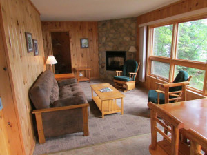 Cabin living room at Elbow Lake Lodge.