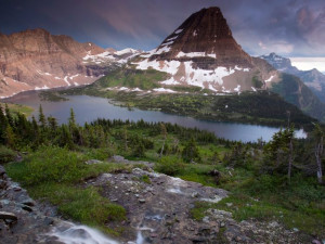 Glacier National Park mountains near North Forty Resort.