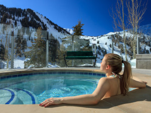 Relaxing in the hot tub at Alta's Rustler Lodge.