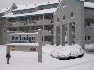 Outside The Lodge at Lincoln Station during winter.