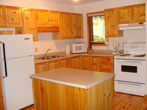 Cottage kitchen at Port Cunnington Lodge.