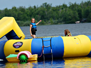 Water trampoline at Timber Trails Resort.