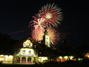 Inn Exterior View with Fireworks at Bavarian Inn of Frankenmuth