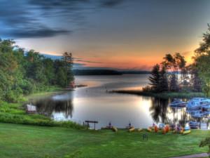 Scenic lake view at Lakewoods Resort.