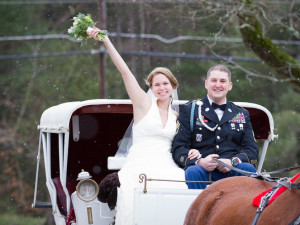 Wedding carriage at Farm by the River Bed & Breakfast.
