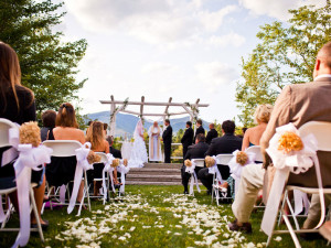Wedding ceremony at Waterville Valley Resort.