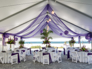 Beach wedding reception at Sirata Beach Resort.