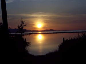 Beautiful sunset at Juan de Fuca Cottages.