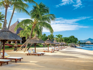 The beach at The Oberoi Mauritius.