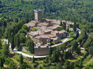 Aerial view of Castello di Gargonza.