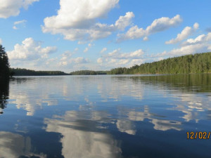 Beautiful lake at Moose Track Adventures Resort.