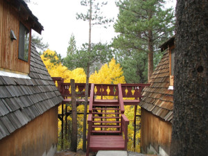 Chalet porch at Reverse Creek Lodge.