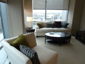Guest living room at Churchill Suites DC.