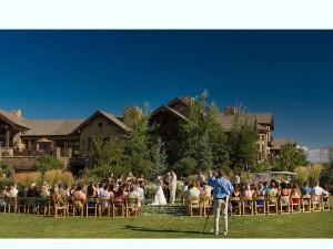 Wedding ceremony at Pronghorn Resort.