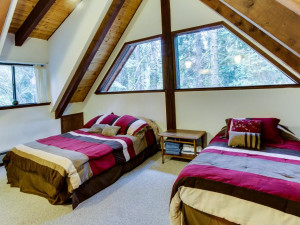 Vacation rental bedroom at Vacasa Rentals Lake Tahoe.