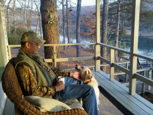 On the deck at McWilliams River Home.