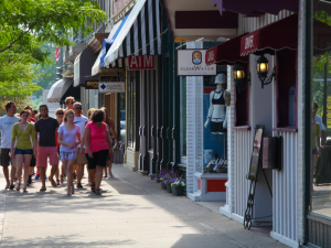Shopping in town at Harbor Shores.