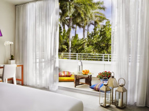 Guest room at Shore Club Miami.