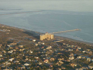Aerial view of The Dunes Condominiums.