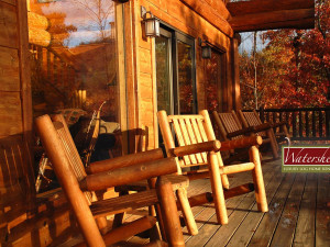 Cabin deck at Watershed Cabins.