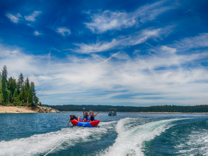 Lake activities at Knotty Pine Cabins.