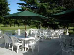 Clubhouse patio at Rainbow Golf Club.