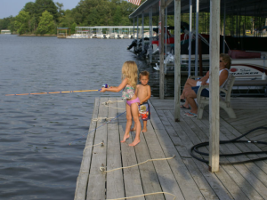 Kid's fishing at Malcolm Creek Resort & Marina.
