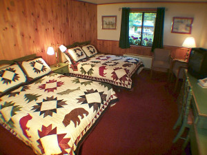 Guest bedroom at Northern Lights Lodge.
