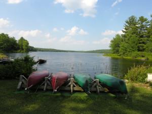 Canoes at Inn At Lake Joseph.